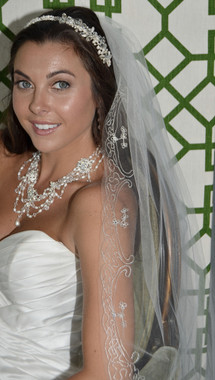 Ansonia Bridal Veil Style 711S - One Tier Fingertip Embroidered Edge Veil