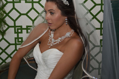 Ansonia Bridal Veil Style 714S - One Tier Elbow With Satin Bias Rhinestone Edge