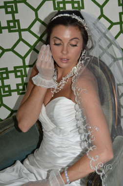 Ansonia Bridal Veil Style 716 - One Tier Fingertip with Embroidered Swirls