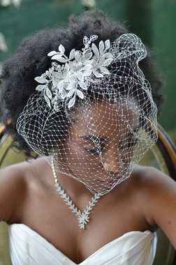 Ansonia Bridal 8676 - Floral Birdcage Veil with Crystals and Pearls