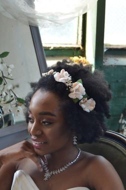Elena Designs E825 - Rhinestone & Crystal Flower Stretch Headband