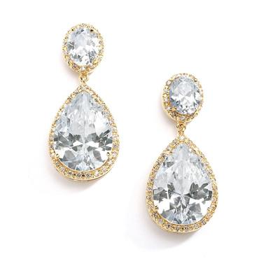 Mariell Gold Pear-Shaped Drop Bridal Earrings - Pierced 2074E-G