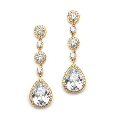 Mariell Gold Pear-Shaped Drop Bridal Earrings with Pave CZ 400E-G