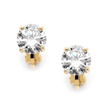 Mariell Gold Clip-On Earrings with 2 Carat 8mm CZ Solitaire 2002EC-G