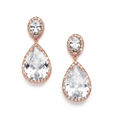 Mariell Gold Cubic Zirconia Rose Gold Pear-Shaped Bridal Earrings - Pierced 2074E-RG