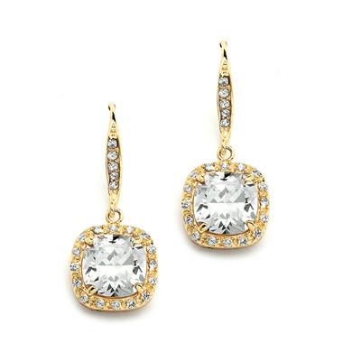 Mariell Gold Magnificent Cushion Cut Cubic Zirconia Earrings 4069E-G