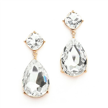 Mariell Gold Chunky Crystal Dangle Earrings set in Gold 4114E-CR-G
