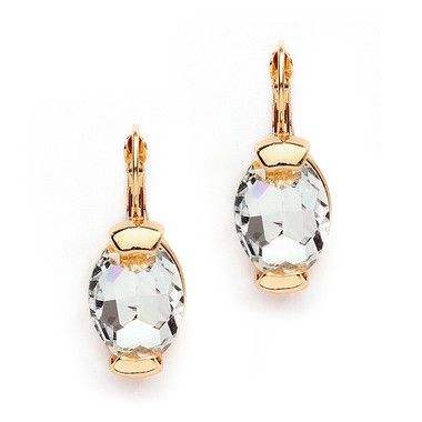 Mariell Gold Clear Crystal Oval Drop Bling Earrings in Gold 4117E-CR-G
