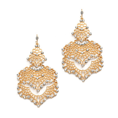 Mariell Gold Filigree Statement Earrings 4120E-G