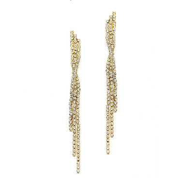Mariell Dangling Gold Rhinestone Earrings with Graceful Twist 4206E-CR-G