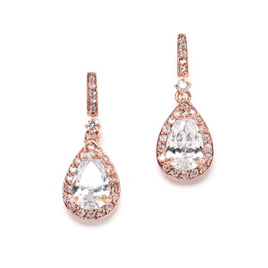 Mariell Rose Gold and Cubic Zirconia Earrings with Framed Pear Drops 4058E-RG
