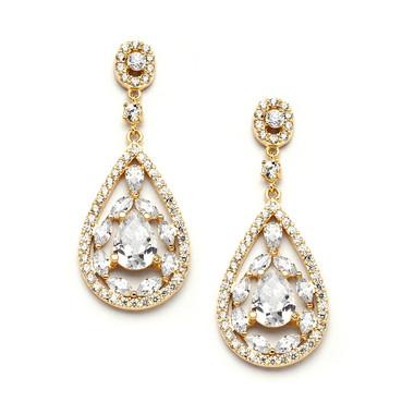 Mariell Gold Cubic Zirconia Mosaic Teardrop Earrings 4093E