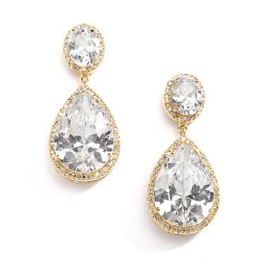 Mariell Cubic Zirconia 14K Gold Plated Pear-Shaped Bridal Earrings 2074EC-G