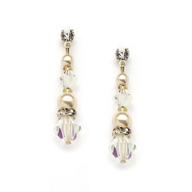 Mariell Pearl & Crystal Gold Dangle Earrings 4082E-I-AB-G