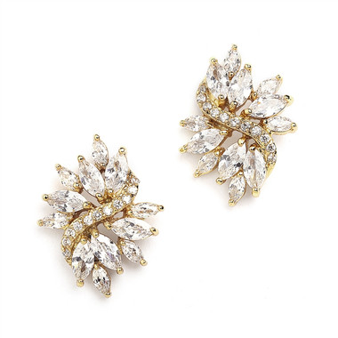 Mariell Gold Cubic Zirconia Cluster Earrings with Delicate Marquis Stones 4014E-G