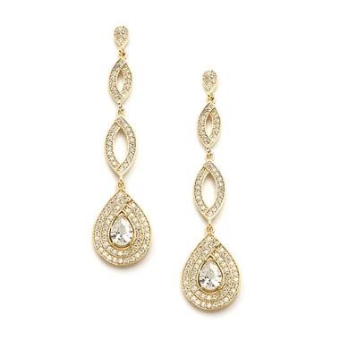 Mariell Gold Micro pave Cubic Zirconia Teardrop Wedding Earrings 4092E