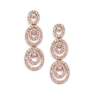 Mariell Concentric Ovals Rose Gold Wedding Earrings 4066E-RG