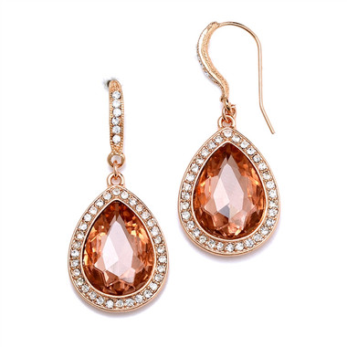 Mariell Rose Gold Teardrop Earrings with Crystal Accents 4247E-RG