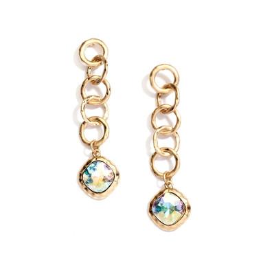 Mariell Bold Matte Gold Links Crystal Drop Earrings 4305E-AB-MG