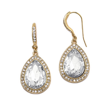 Mariell Clear Crystal Teardrop Earrings with Gold Pave Accents 4247E-CR-G