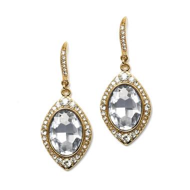Mariell Framed Oval Gold Drop Earrings for Weddings or Proms 4337E-CR-G