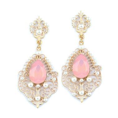 Mariell Gold Frost Dangle Earrings with Pink Opal Pear 4303E-PK-G