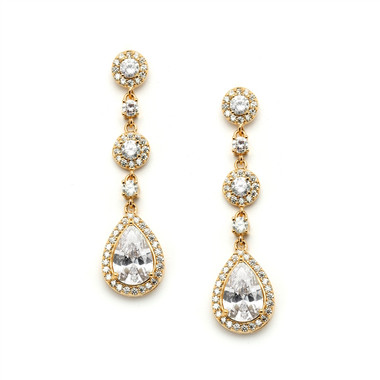 Mariell Pear-shaped Gold Wedding Earrings with Micro-Pave CZ 4505E-G