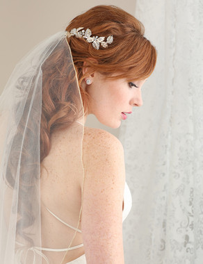 Bel Aire Bridal 6619- Rhinestone metal leaf comb