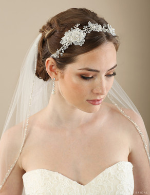 Bel Aire Bridal 6649- Lace and leaf tie headband