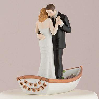 """Row Away"" Wedding Couple In Rowboat Figurine"