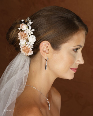 Marionat Bridal 4655 Color floral clip with Rhinestones and Pearls- Le crystal