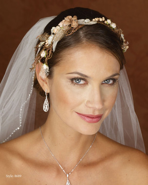 Marionat Bridal 8689 Floral Wreath (Brown, Peach and Green)- Le crystal