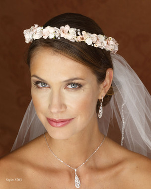 Marionat Bridal 8703 Pink Floral Wreath- Le Crystal Collection