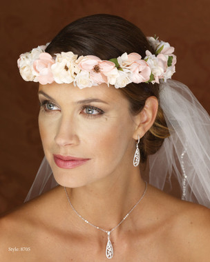 Marionat Bridal 8705 Pink and Ivory Floral Wreath- Le Crystal Collection