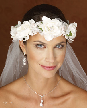 Marionat Bridal 8706 Ivory Floral Wreath with Ribbon Ties- Le Crystal Collection
