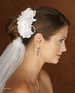 Marionat Bridal 8707 Flower Clip with Lace, Rhinestones and Pearls- Le Crystal Collection