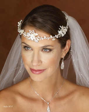 Marionat Bridal 8717 Rhinestone Floral Wreath with Pearls- Le Crystal Collection