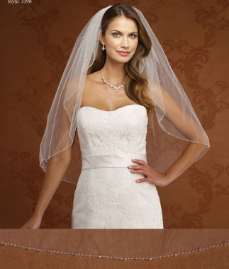 Marionat Bridal Veils 3398- Beaded Rhinestone Edge - The Bridal Veil Company