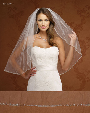Marionat Bridal Veils 3407-  Beaded Edge with Silver Rolled- The Bridal Veil Company