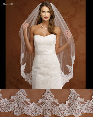 Marionat Bridal Veils 3440- Beaded Lace Veil-The Bridal Veil Company