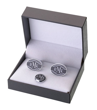 Black Band Cufflinks & Tie Tack Set  - Personalize it! Monogram A-Z