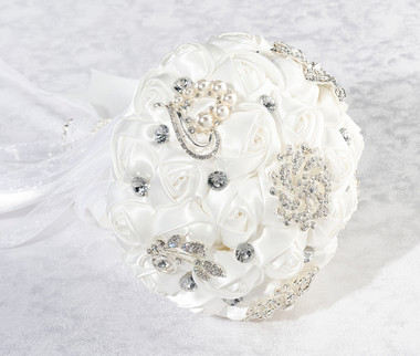 Crystal Flower Bouquet - White