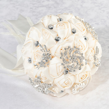 Crystal Flower Bouquet - Ivory