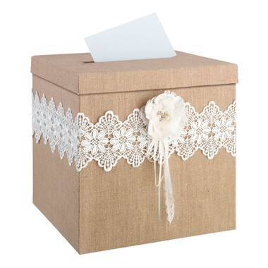 MB560    Burlap and Lace Card Box