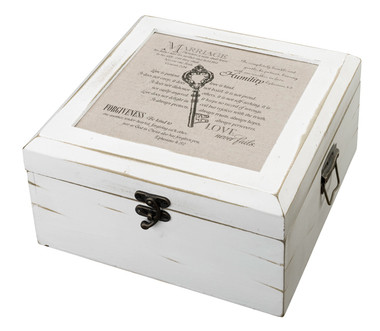 Antique White Card Box -Christian