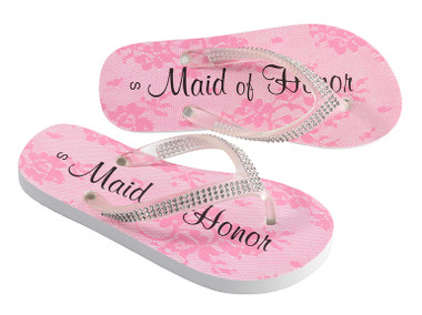 Rhinestone Maid Of Honor Flip Flops