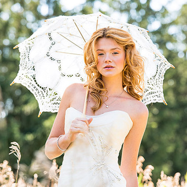 White Battenburg Lace Parasol