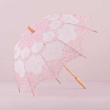 Vintage Pink Battenburg Lace Parasol