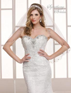 Symphony Bridal Wedding Veil - 6701VL - Beaded Edge