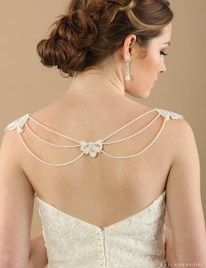 Bel Aire Bridal SH207 Pearl strand shoulder jewelry
